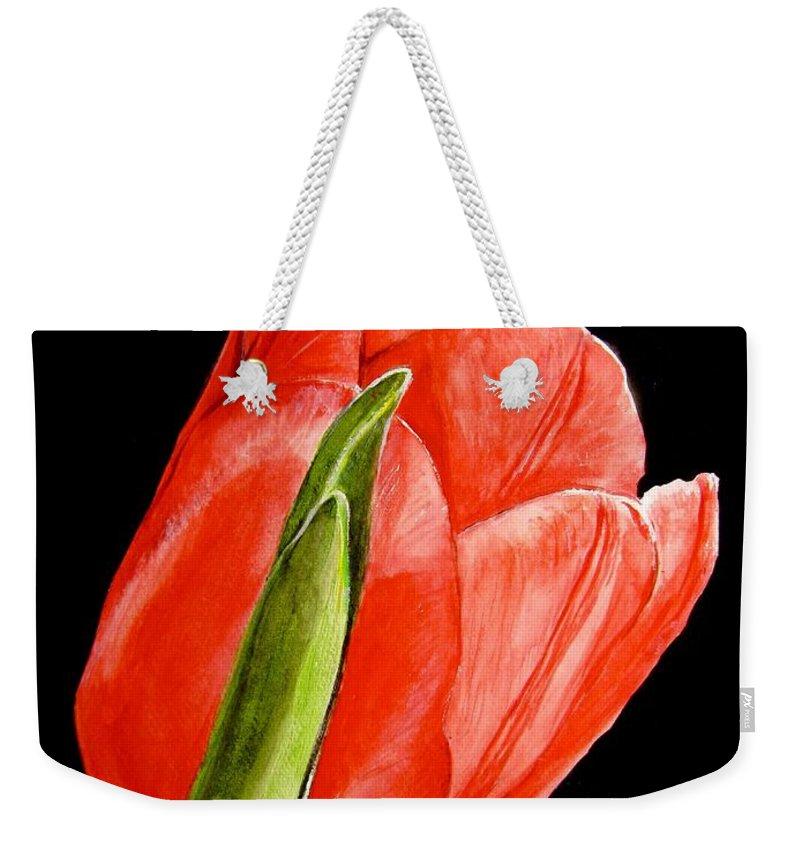Tulip Painting Weekender Tote Bag featuring the painting Red Tulip by Carol Blackhurst
