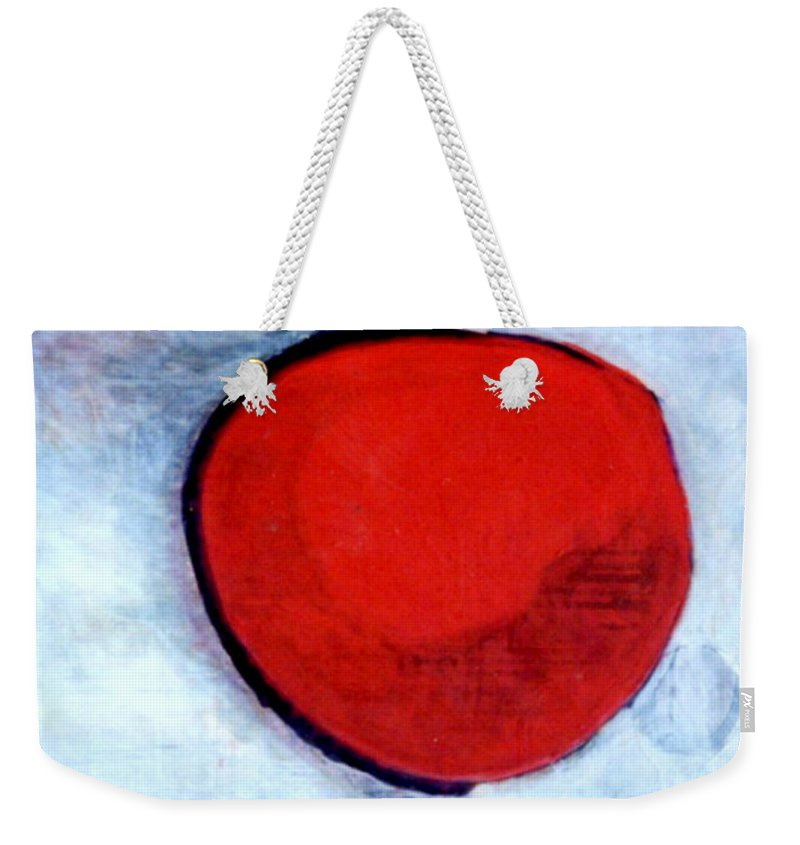 Red Weekender Tote Bag featuring the painting Red Twin Jump Start by Marlene Burns
