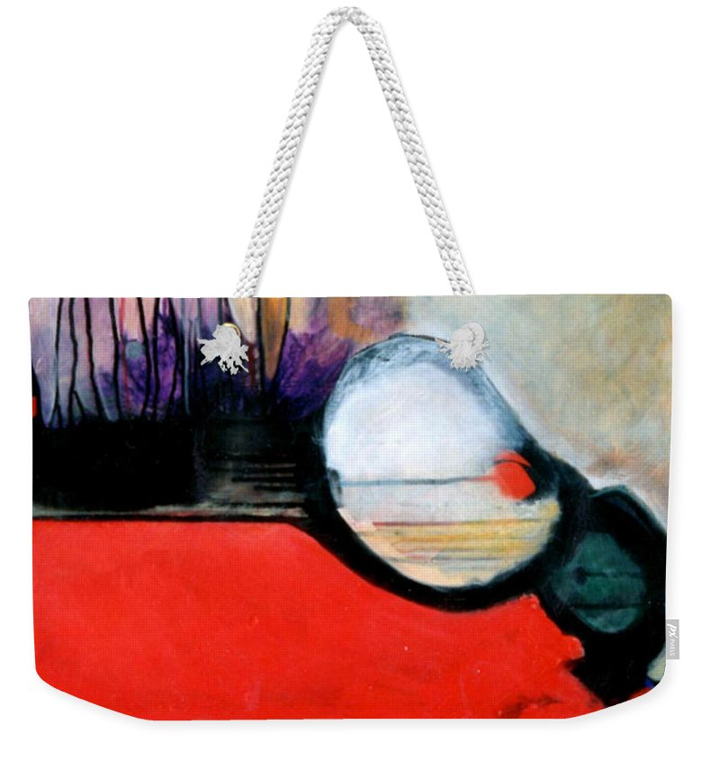 Abstract Weekender Tote Bag featuring the painting Red Twin Leaps And Bounds by Marlene Burns
