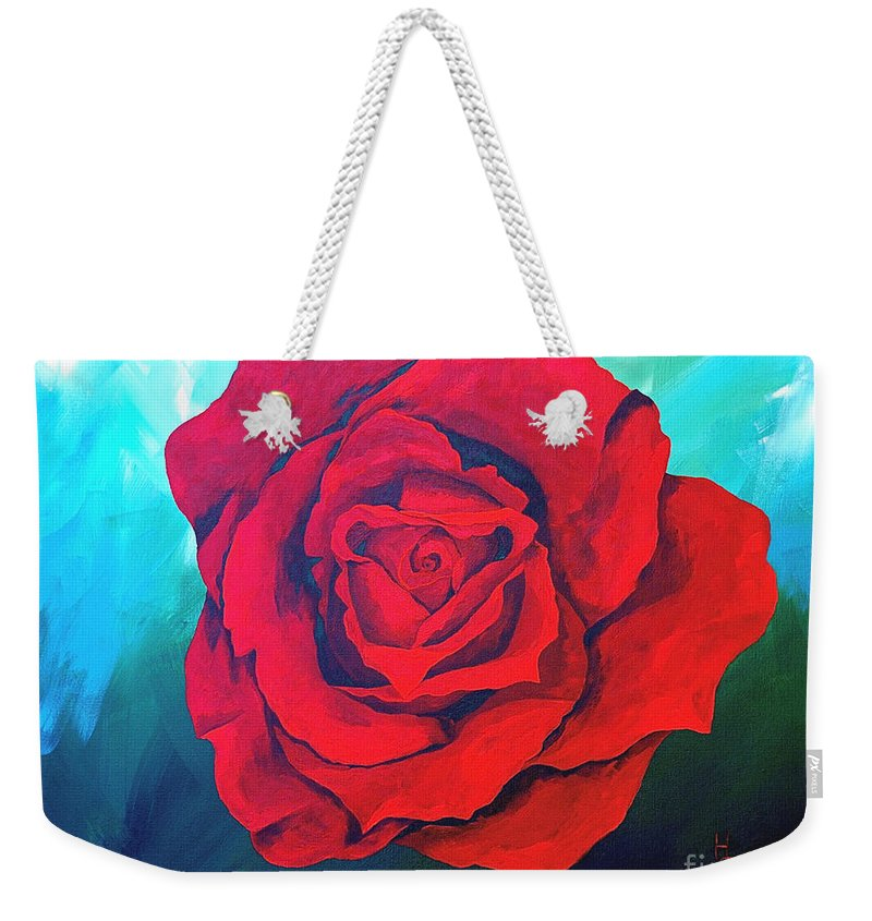 Red Rose Deep Red Rose 3d Ice Rose Weekender Tote Bag featuring the painting Red Velvet by Herschel Fall