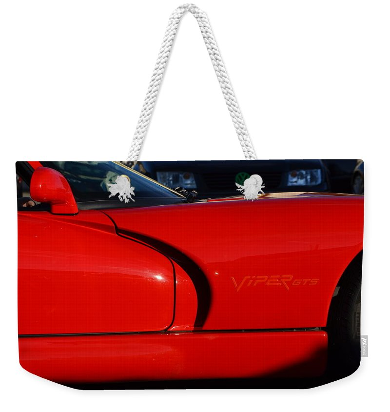 Weekender Tote Bag featuring the photograph Red Viper by Dean Ferreira