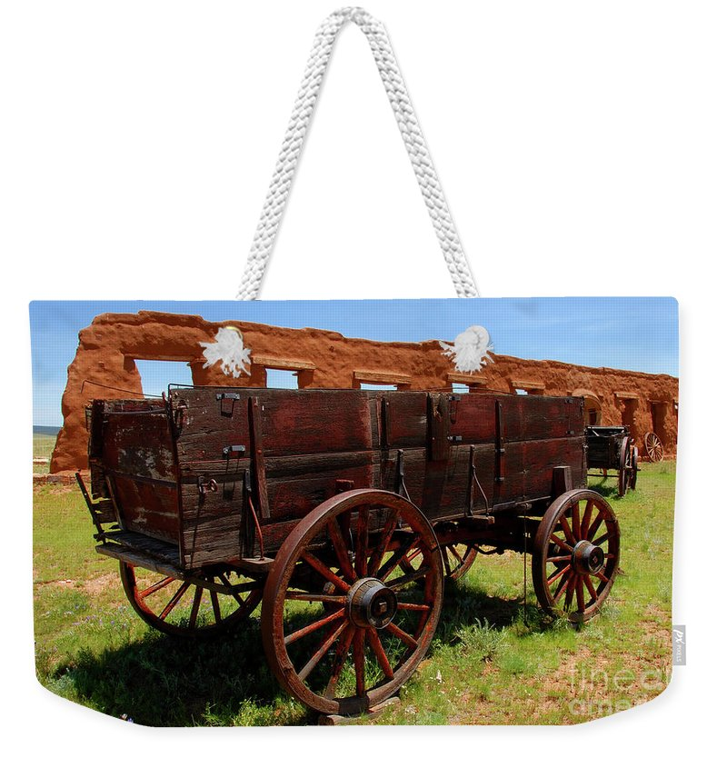 Fine Art Photography Weekender Tote Bag featuring the photograph Red Wagon by David Lee Thompson