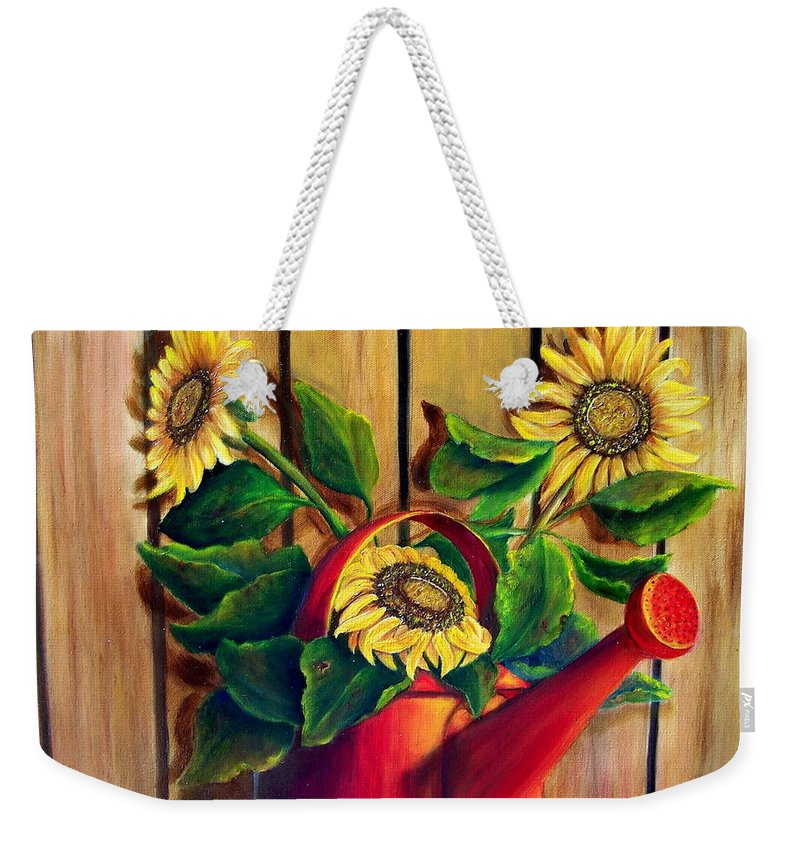 Sunflowers Weekender Tote Bag featuring the painting Red Watering Can With Sunflowers. Sold by Susan Dehlinger
