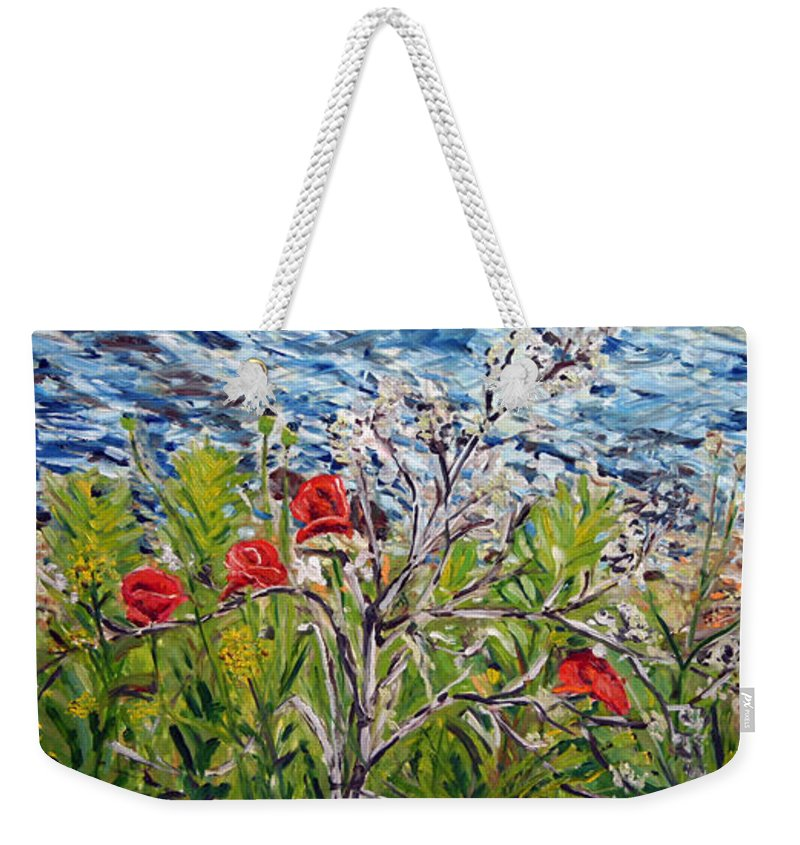 Landscape Weekender Tote Bag featuring the painting Red-weed - All by Pablo de Choros