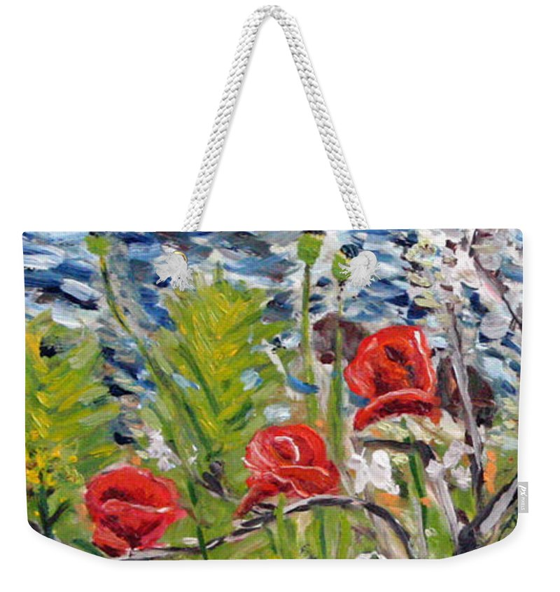 Landscape Weekender Tote Bag featuring the painting Red-weed - Detail 1 by Pablo de Choros