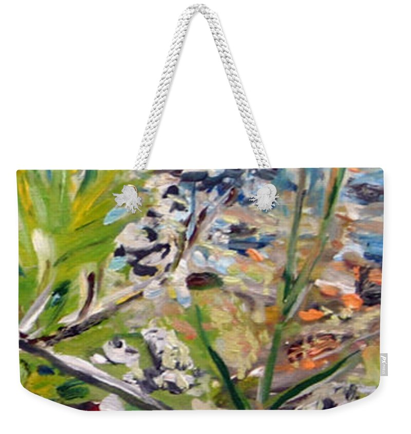 Landscape Weekender Tote Bag featuring the painting Red-weed - Detail 2 by Pablo de Choros