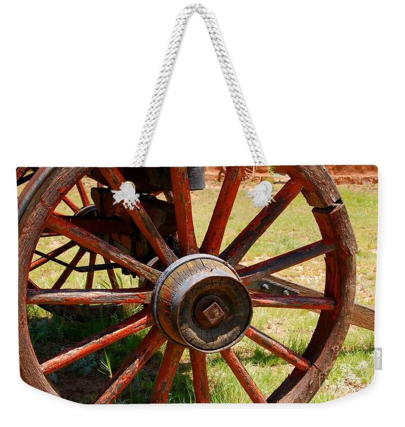 Wagon Weekender Tote Bag featuring the photograph Red Wheels by David Lee Thompson
