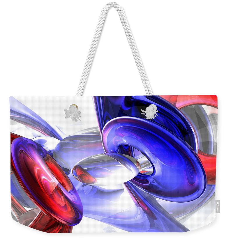 3d Weekender Tote Bag featuring the digital art Red White And Blue Abstract by Alexander Butler