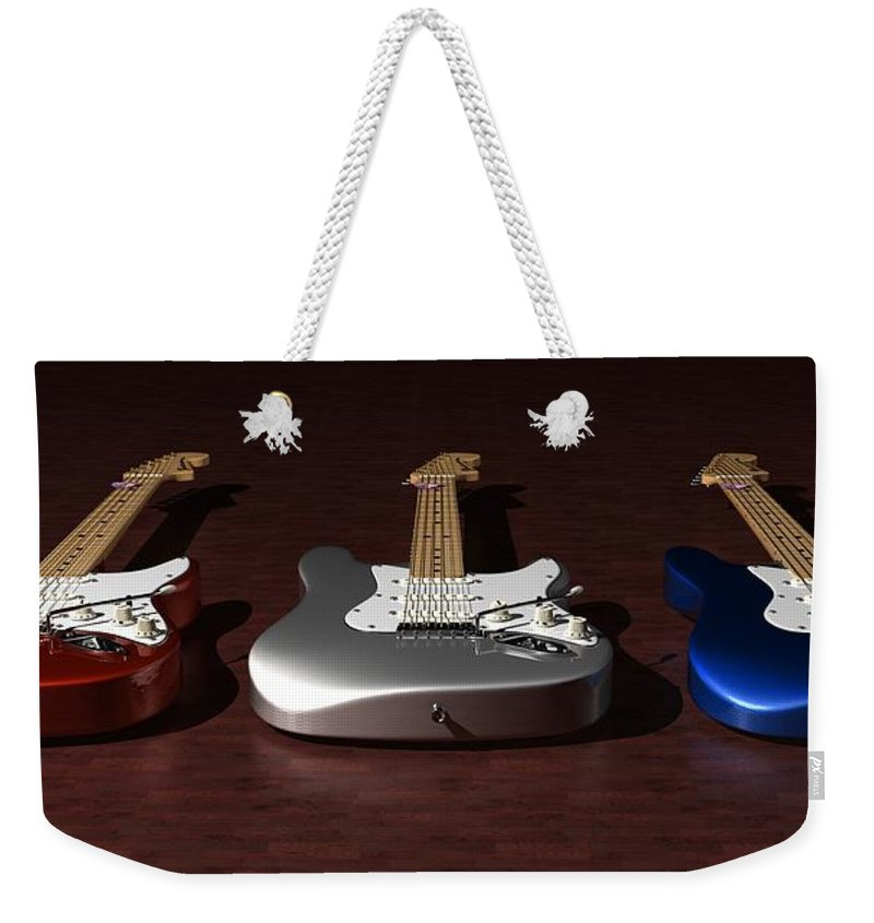 Guitar Weekender Tote Bag featuring the digital art Red White And Blue by James Barnes