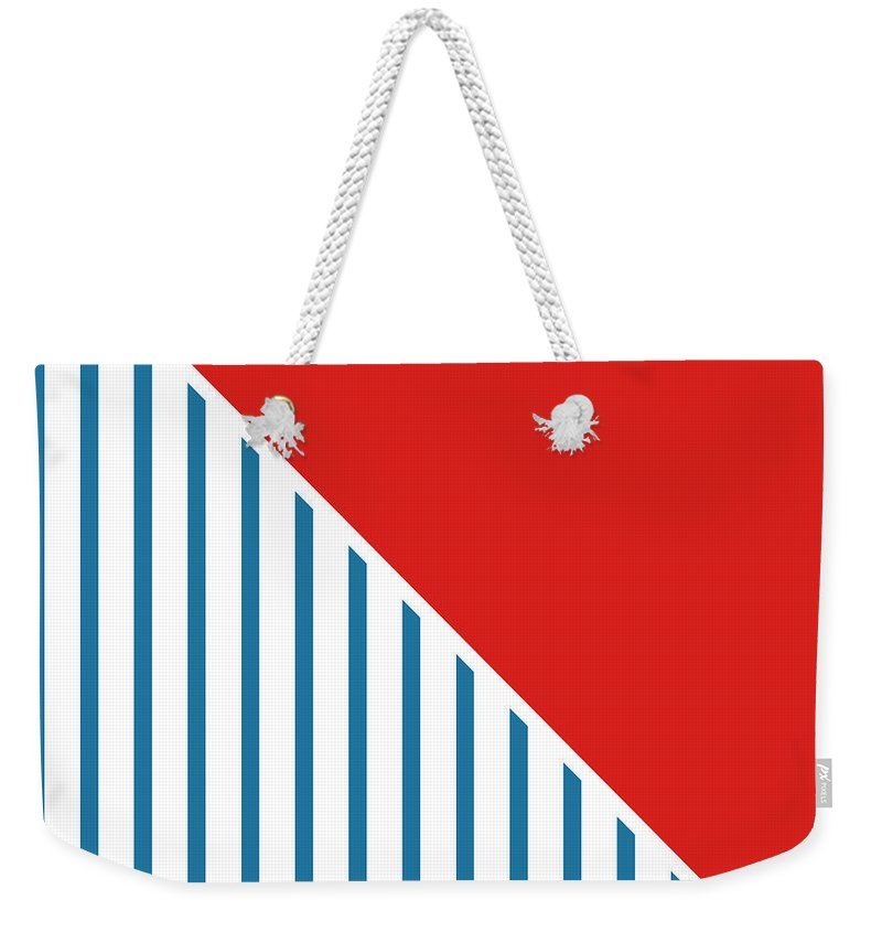 Red Weekender Tote Bag featuring the digital art Red White And Blue Triangles 2 by Linda Woods