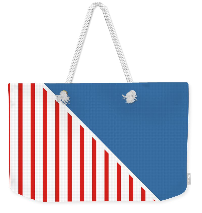 Red Weekender Tote Bag featuring the digital art Red White And Blue Triangles by Linda Woods