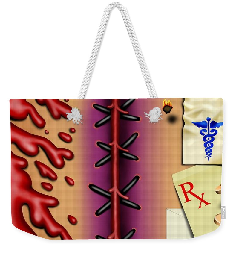 Surrealism Weekender Tote Bag featuring the digital art Red White And Bruised I by Robert Morin