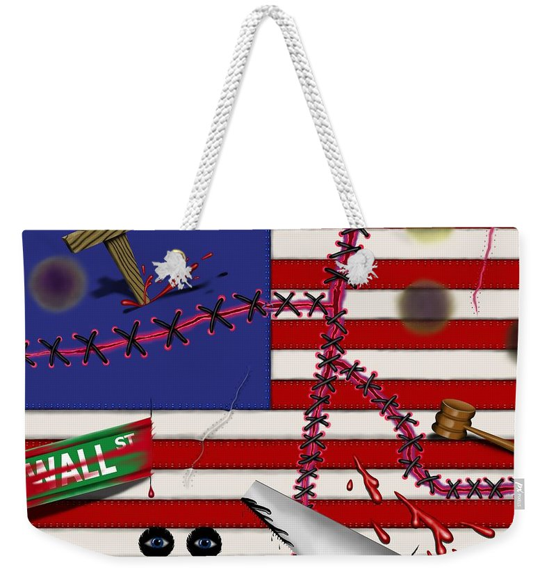 Surrealism Weekender Tote Bag featuring the digital art Red White and Bruised III by Robert Morin