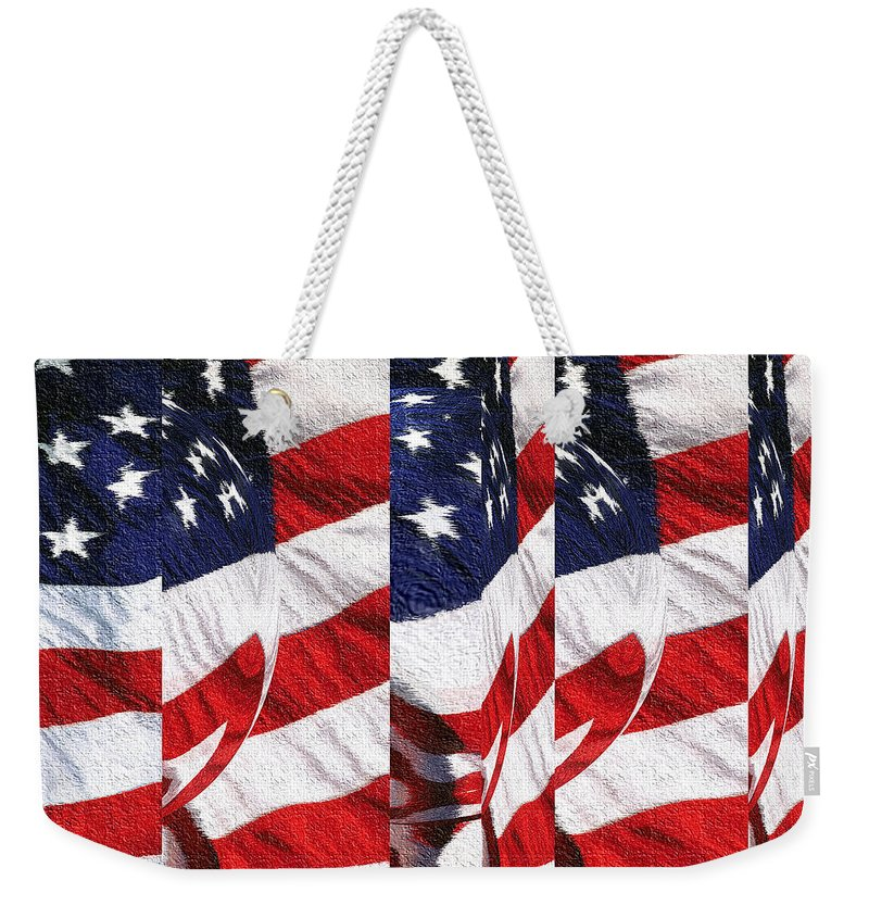American+flag Weekender Tote Bag featuring the tapestry - textile Red White Blue - American Stars And Stripes by Peter Potter