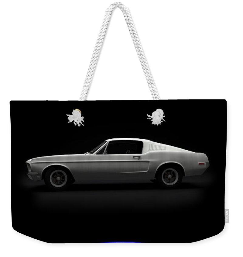 Blue Weekender Tote Bag featuring the digital art Red White Blue Mustang 2 by Brainwave Pictures