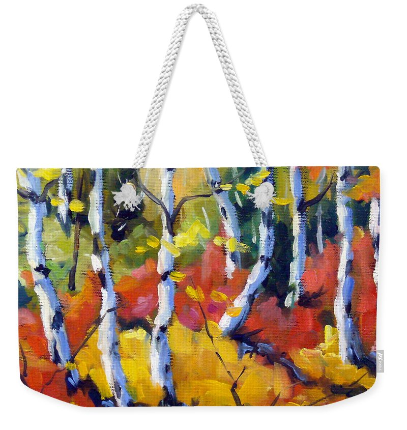 Art Weekender Tote Bag featuring the painting Red White Gold by Richard T Pranke