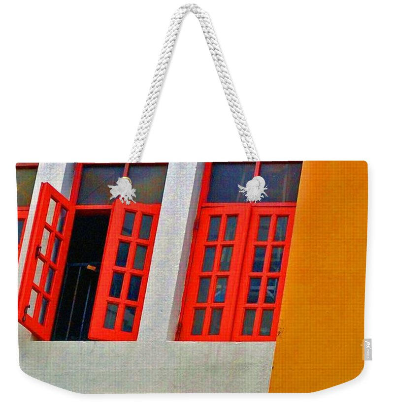 Windows Weekender Tote Bag featuring the photograph Red Windows by Debbi Granruth