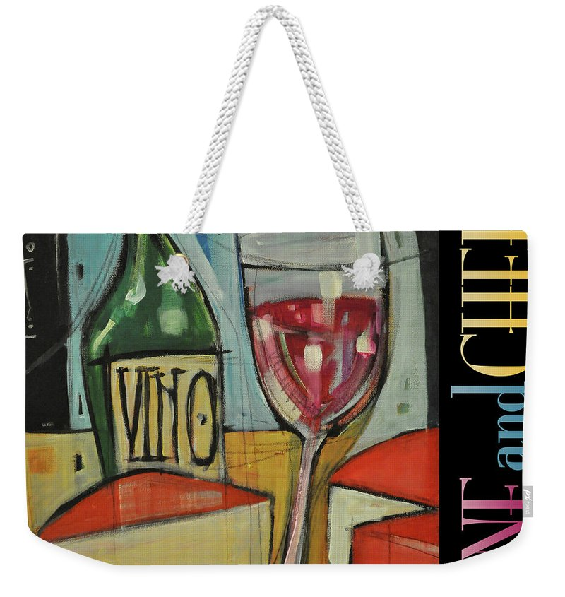 Red Wine Weekender Tote Bag featuring the painting Red Wine And Cheese Poster by Tim Nyberg