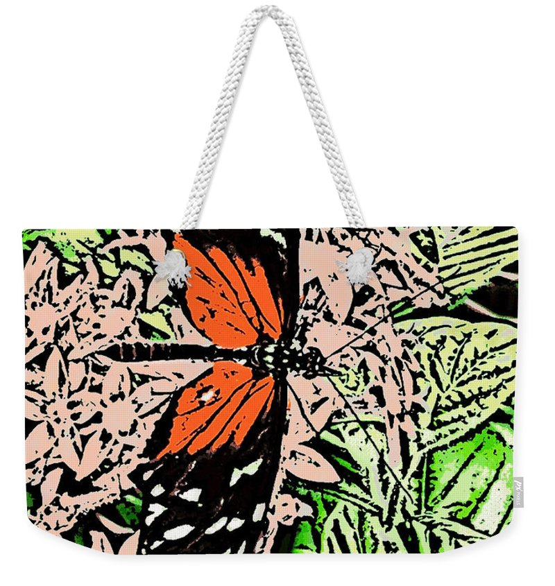 Weekender Tote Bag featuring the digital art Red Winged Butterfly by Iris Posner