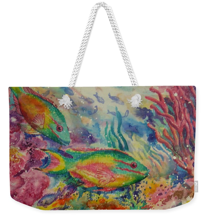 Fish Weekender Tote Bag featuring the painting Redband Parrotfish by Deborah Younglao