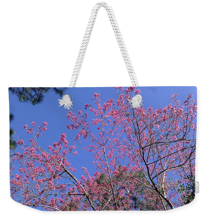 Blue Weekender Tote Bag featuring the photograph Redbud In Bloom by Laura Martin