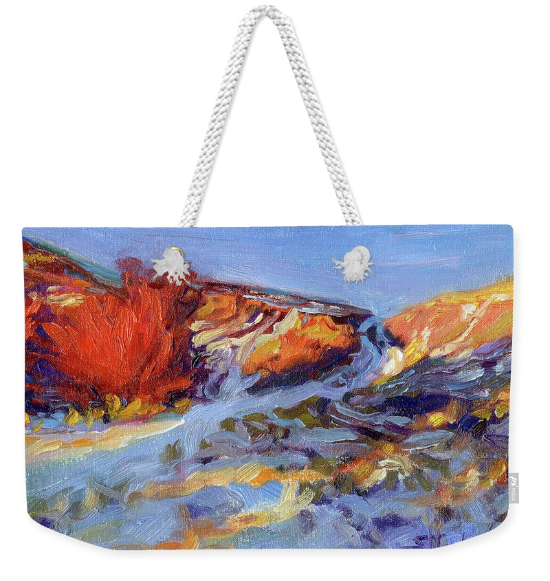 Landscape Weekender Tote Bag featuring the painting Redbush by Steve Henderson