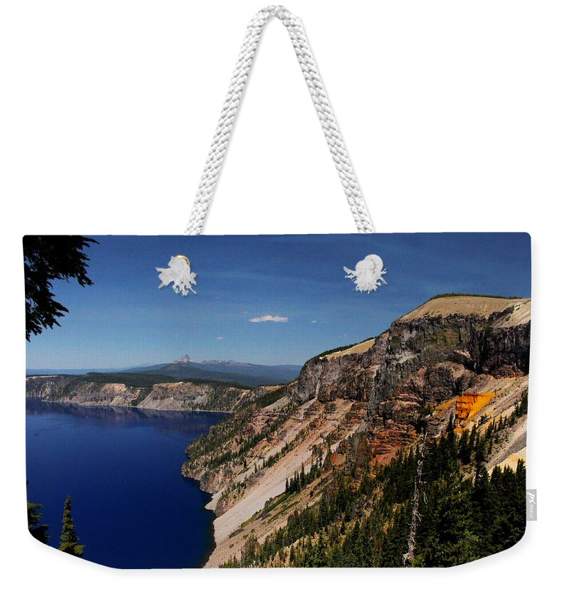 Redcloud Cliff Weekender Tote Bag featuring the photograph Redcloud Cliff by Marnie Patchett