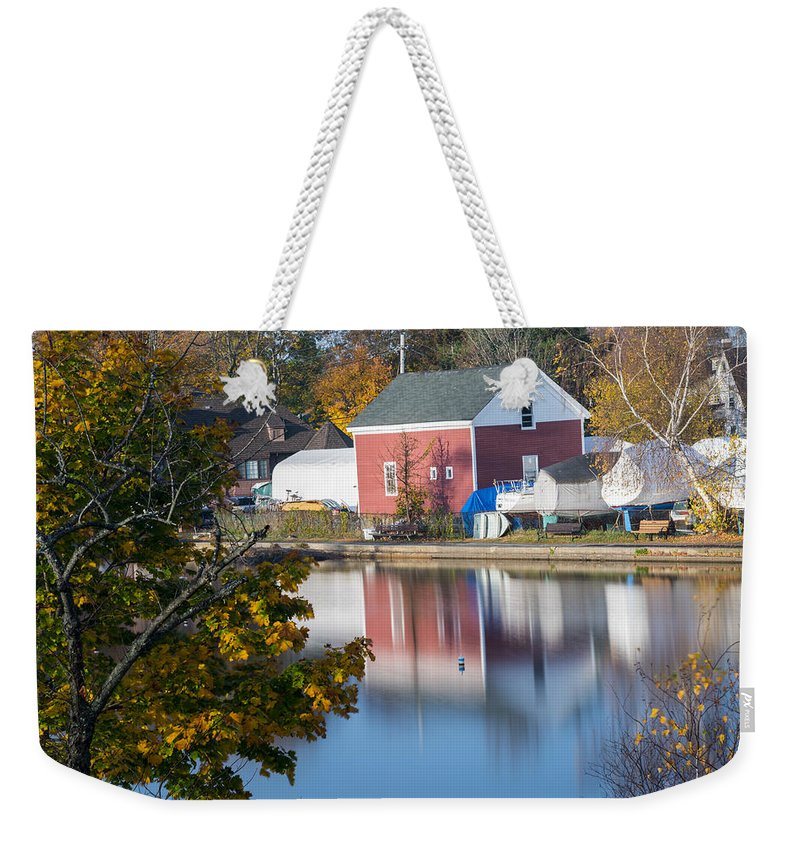 Marblehead Weekender Tote Bag featuring the photograph Redd's Pond Boathouse Marblehead Ma Massachusetts by Toby McGuire