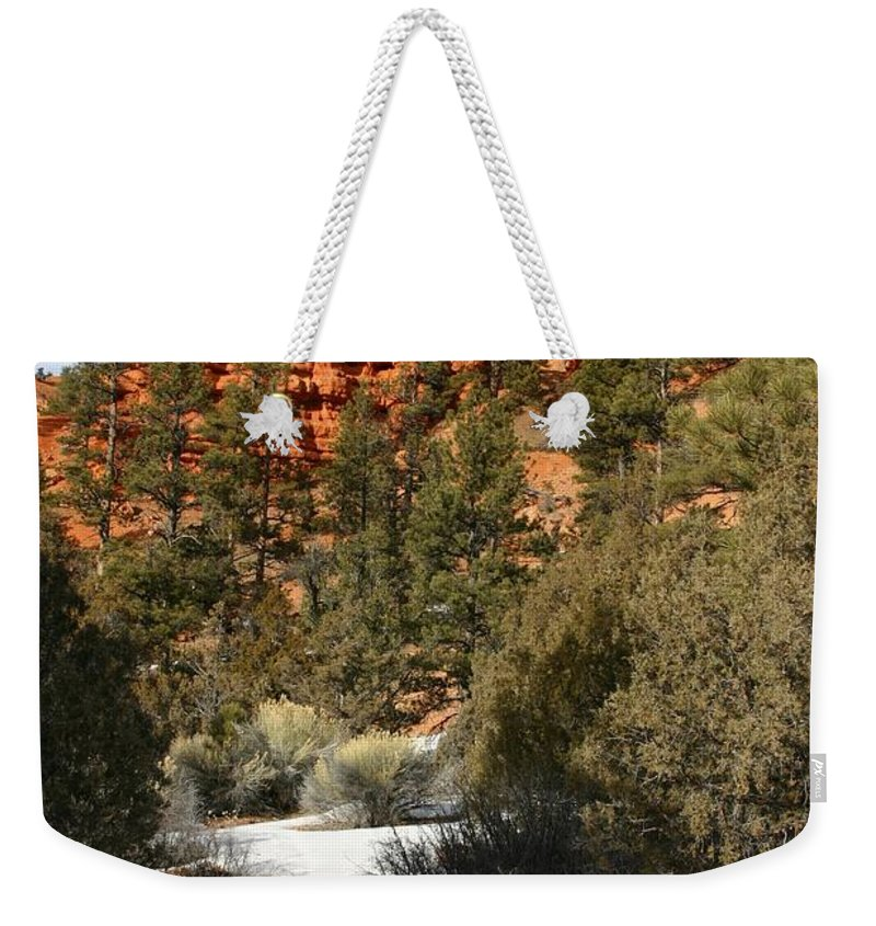 Red Rocks Weekender Tote Bag featuring the photograph Redrock Winter by Nelson Strong