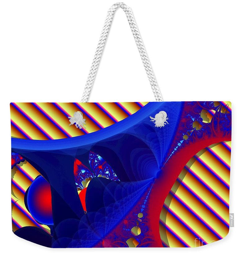 Fractal Image Weekender Tote Bag featuring the digital art Reds And Blues by Ron Bissett