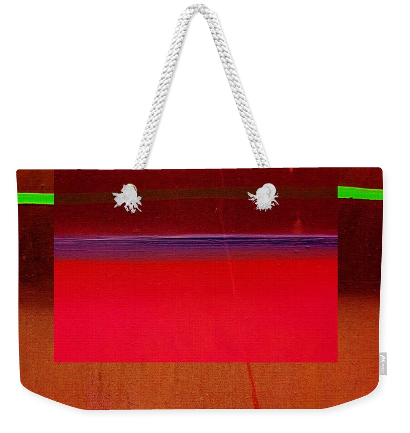 Landscape Weekender Tote Bag featuring the painting Redscape by Charles Stuart