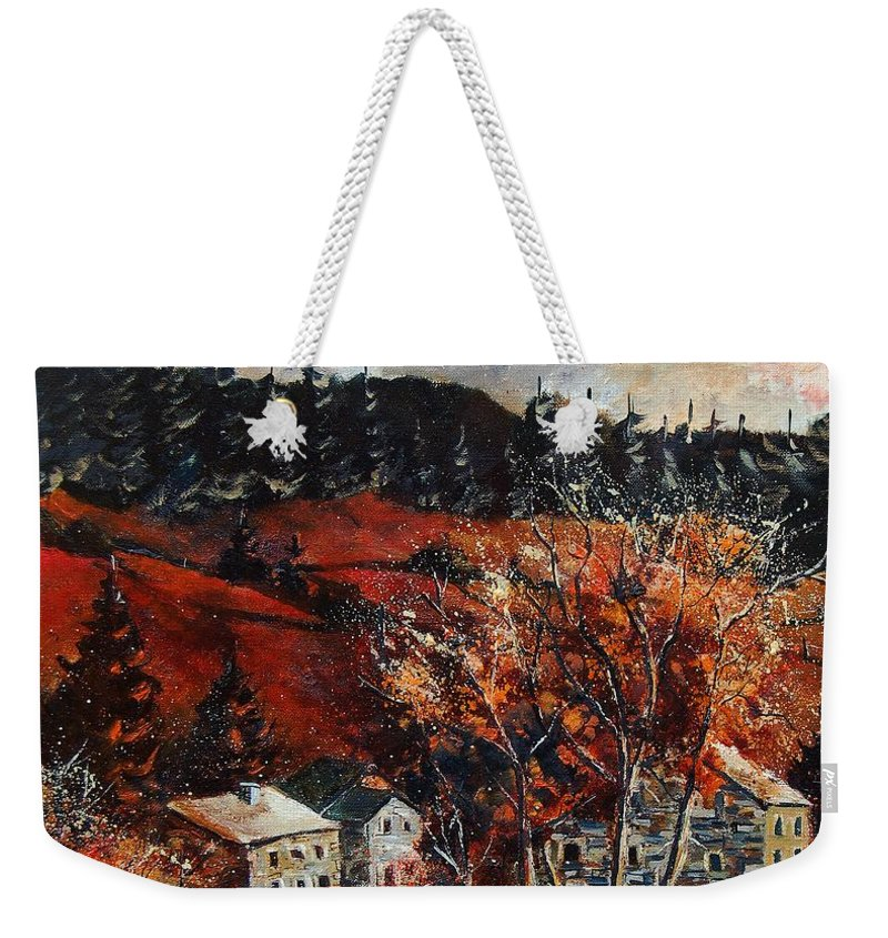 Tree Weekender Tote Bag featuring the painting Redu Village Belgium by Pol Ledent