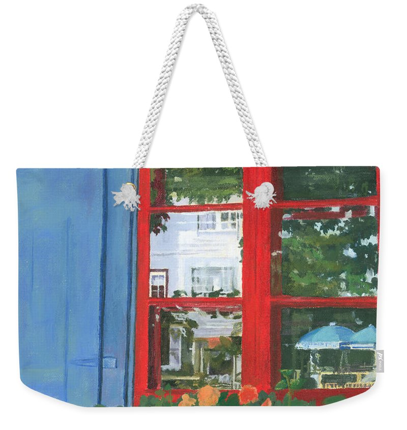 Window Weekender Tote Bag featuring the painting Reflecting Panes by Lynne Reichhart