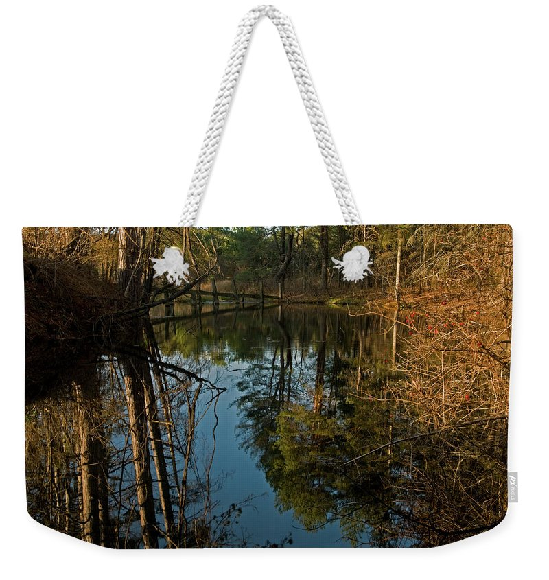vermont Images Weekender Tote Bag featuring the photograph Reflecting Pond by Paul Mangold