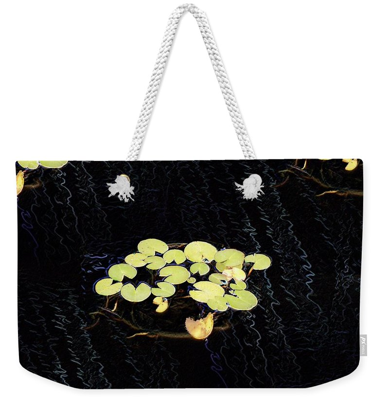 Lillies Weekender Tote Bag featuring the digital art Reflecting Pool Lilies by Tim Allen
