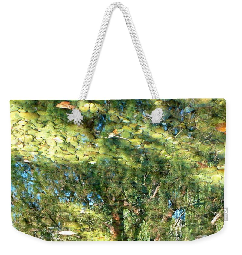 Reflection Weekender Tote Bag featuring the photograph Reflecting Trees On Quiet Pond by Carol Groenen