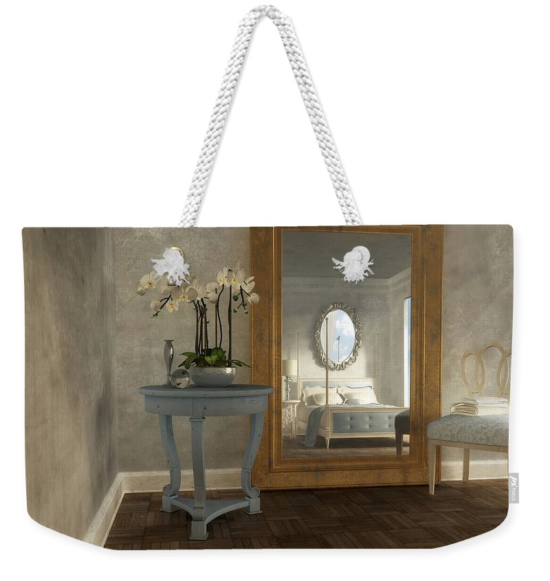 Interior Weekender Tote Bag featuring the digital art Reflection by Cynthia Decker
