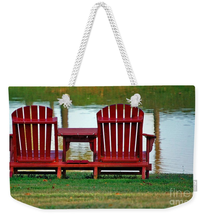Chairs Weekender Tote Bag featuring the photograph Reflection by Debbi Granruth