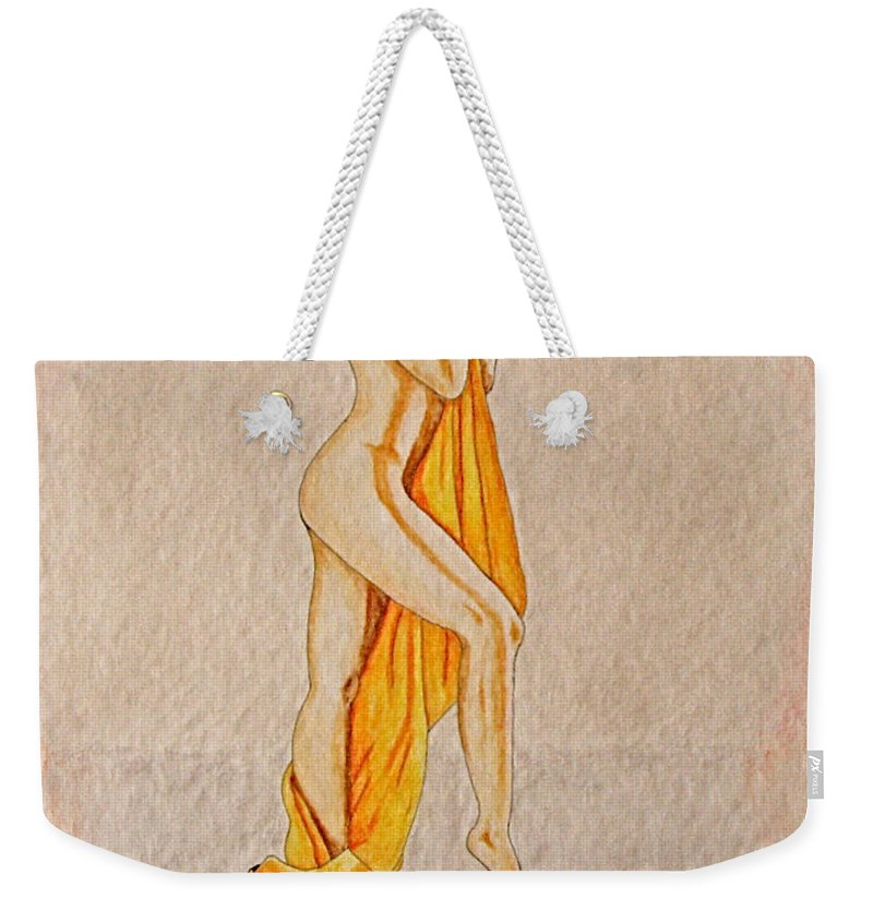 Nude Weekender Tote Bag featuring the painting Reflection by Herschel Fall