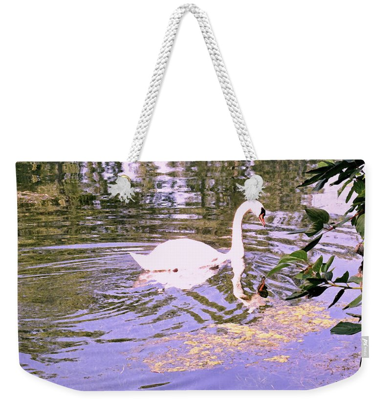 Swan Weekender Tote Bag featuring the photograph Reflection by Ian MacDonald