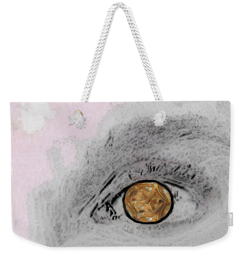 Eye Weekender Tote Bag featuring the digital art Reflection In A Golden Eye by RC DeWinter