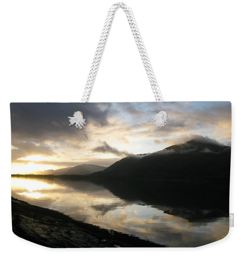 Scotland Weekender Tote Bag featuring the photograph Reflection by Maria Joy