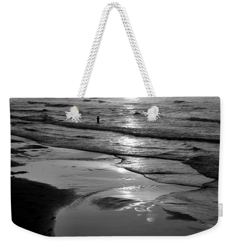 Morning Weekender Tote Bag featuring the photograph Reflection Of Bird In Flight by Marilyn Hunt