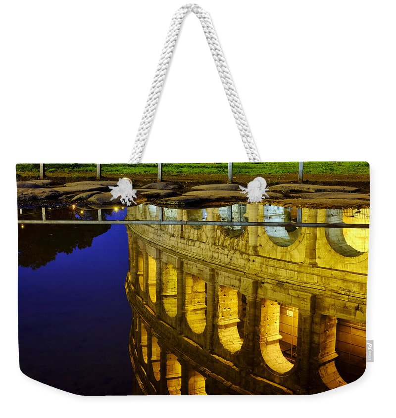 Colosseum Weekender Tote Bag featuring the photograph Reflection Of The Colosseum by Fabrizio Troiani
