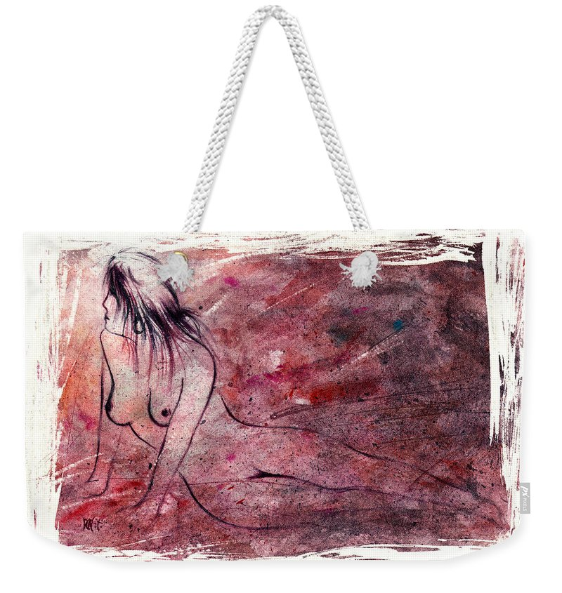 Nude Weekender Tote Bag featuring the painting Reflection by Rachel Christine Nowicki