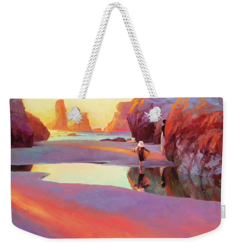 Coast Weekender Tote Bag featuring the painting Reflection by Steve Henderson