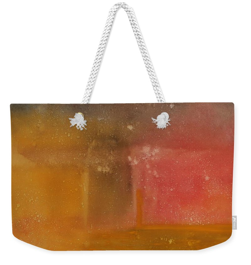 Storm Summer Red Yellow Gold Weekender Tote Bag featuring the painting Reflection Summer Storm by Jack Diamond