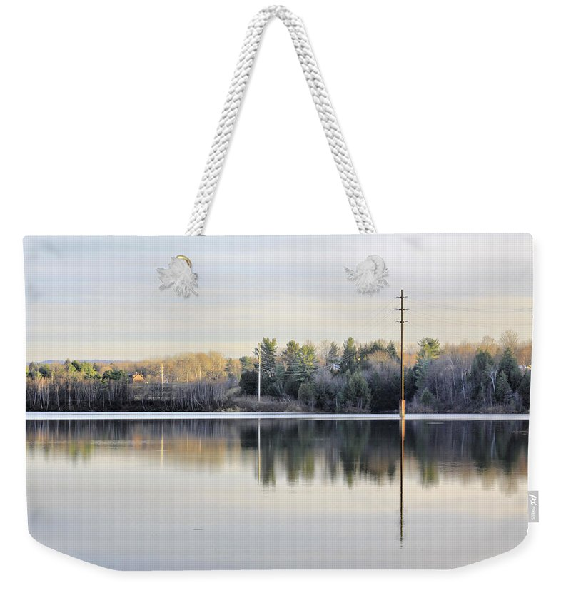 Water Weekender Tote Bag featuring the photograph Reflections Across The Water by Deborah Benoit