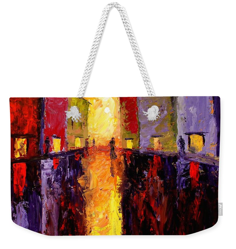Reflections Weekender Tote Bag featuring the painting Reflections by Angel Reyes