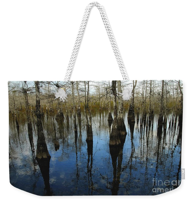 Bald Cypress Trees Weekender Tote Bag featuring the photograph Reflections At Big Cypress by David Lee Thompson